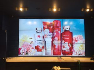 Japanese Cherry Blossom products displayed on a TV