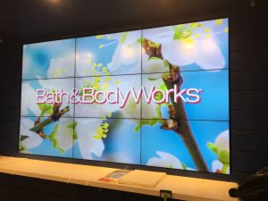 Bath And Body Works displayed on a TV