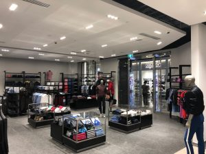 Inside a Hugo Boss store displaying products