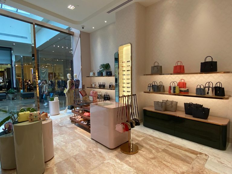 Photo looking out of the Kate Spade New York store